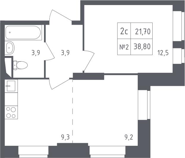 2-к.кв (евро), 38.8 м²