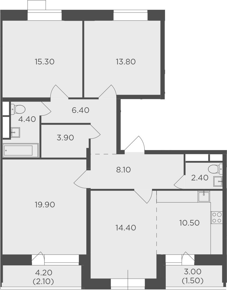 4Е-к.кв, 102.7 м², 3 этаж