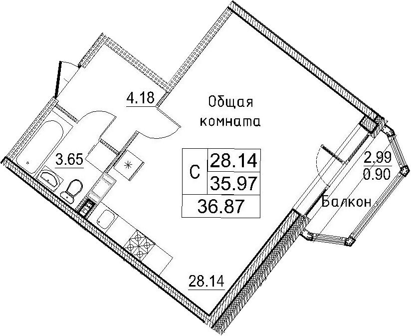 Студия, 38.97 м²