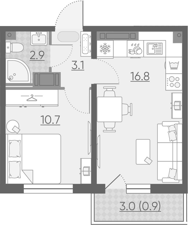 2Е-к.кв, 34.4 м², 14 этаж
