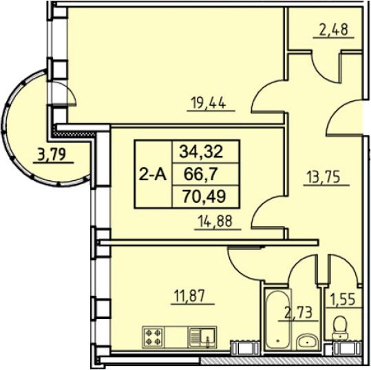 2-комнатная, 70.49 м²– 2