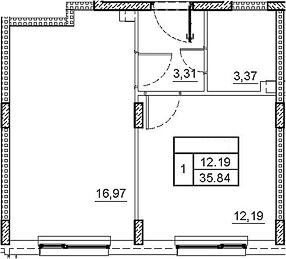 2Е-комнатная, 35.84 м²– 2