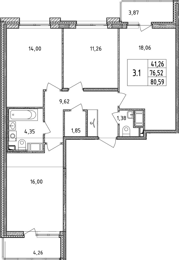 4Е-к.кв, 76.52 м²