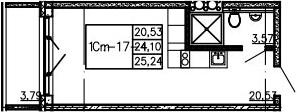 Студия, 25.24 м²– 2