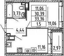 1-к.кв, 30.39 м²