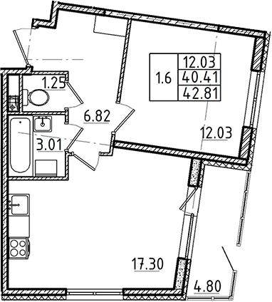 2Е-комнатная, 40.41 м²– 2