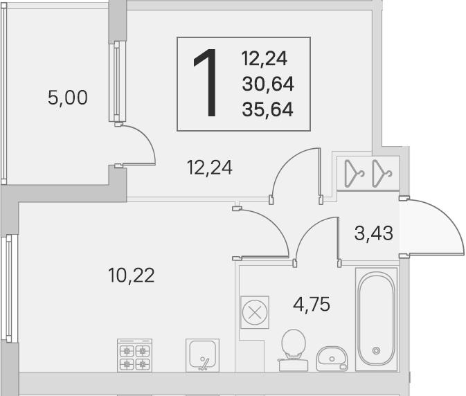 1-к.кв, 30.64 м²