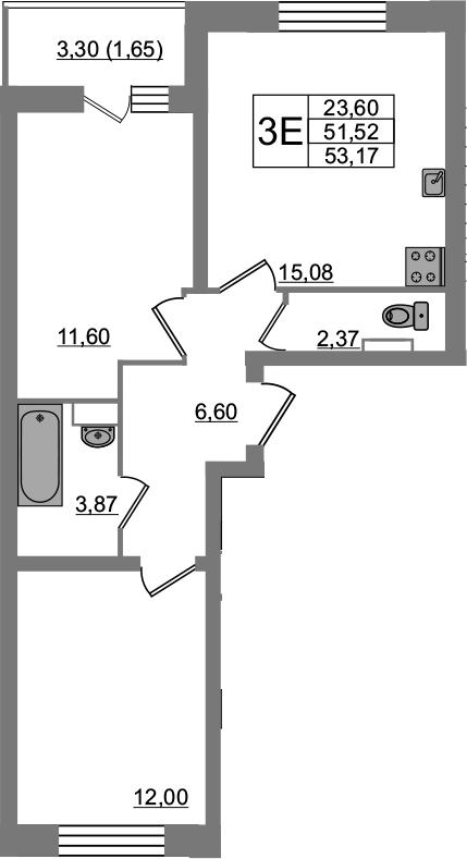 3-к.кв (евро), 54.82 м²