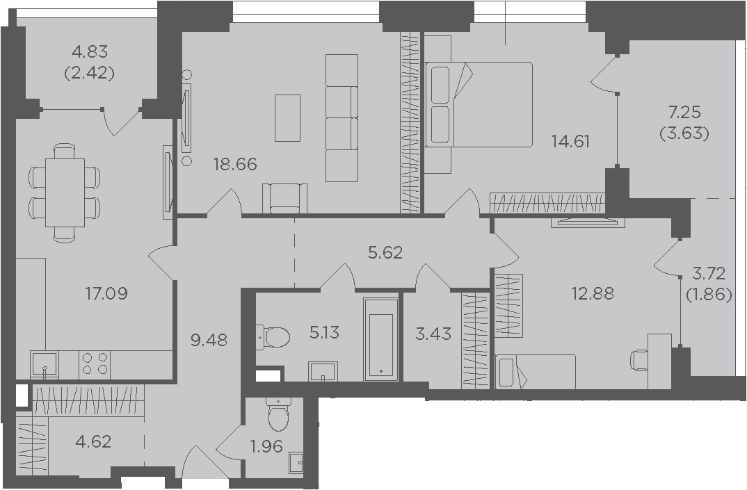 3-к.кв, 101.39 м², 2 этаж