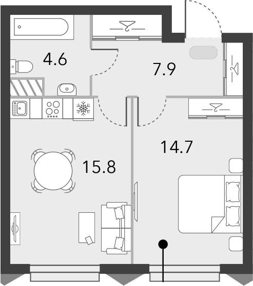 2Е-комнатная, 43 м²– 2