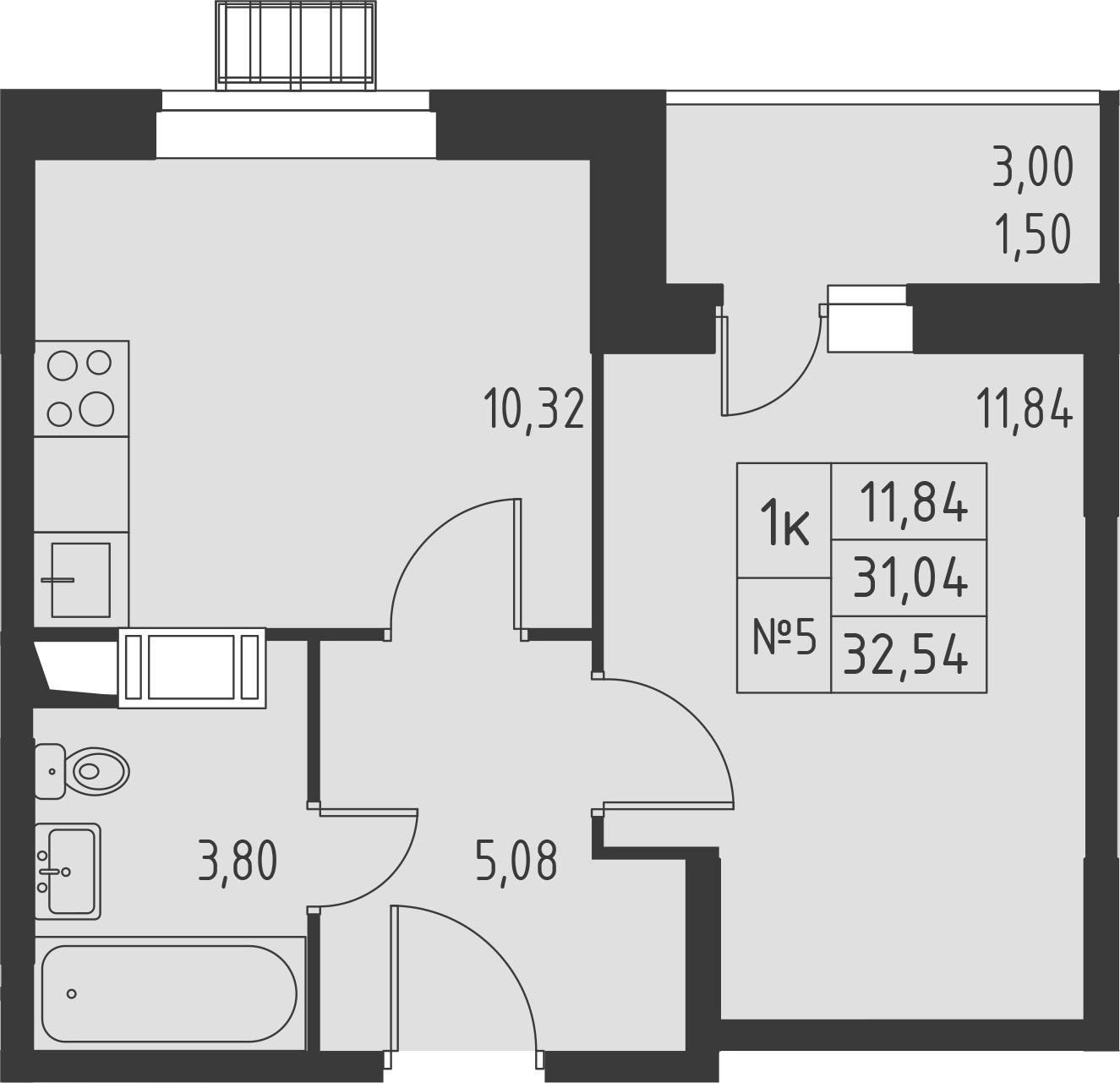 1-к.кв, 32.54 м², 4 этаж
