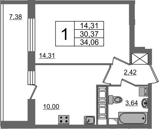 1-к.кв, 30.37 м²