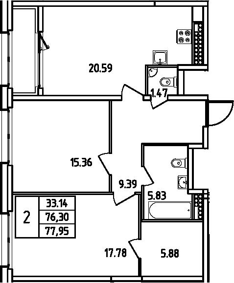 3Е-комнатная квартира, 77.95 м², 12 этаж – Планировка