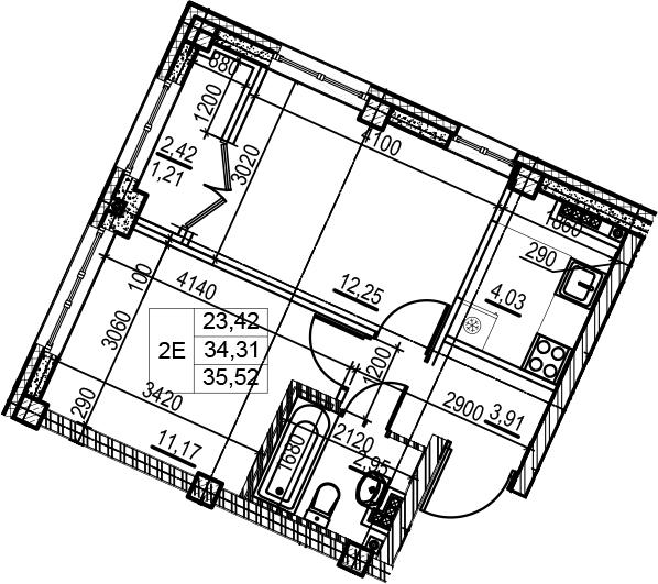 2Е-комнатная квартира, 35.52 м², 5 этаж – Планировка
