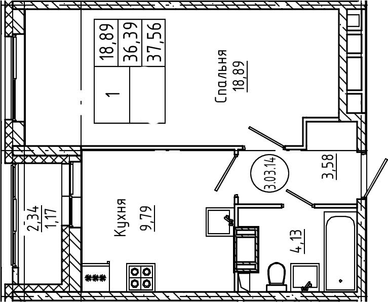 1-комнатная, 37.56 м²– 2