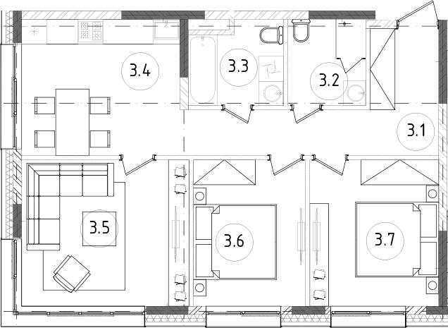3-комнатная, 65.34 м²– 2