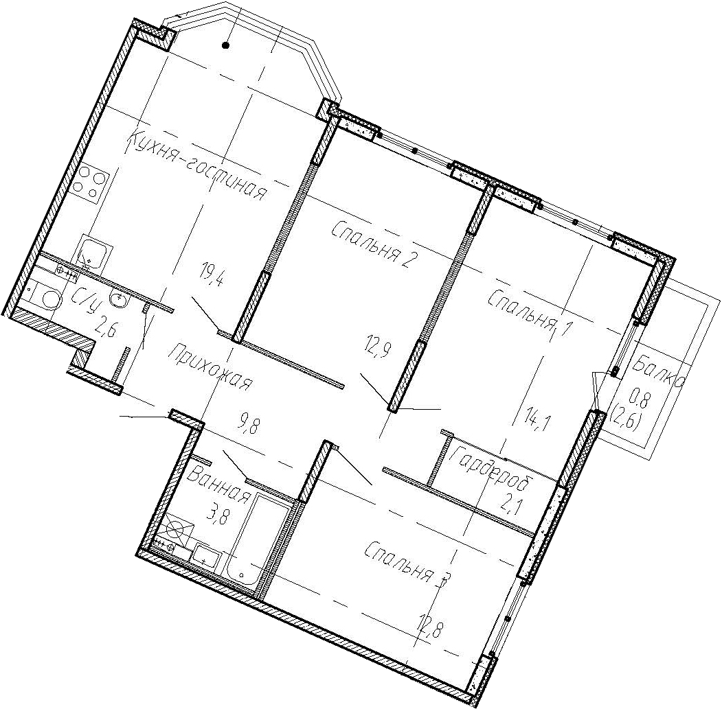 4Е-комнатная, 77.5 м²– 2