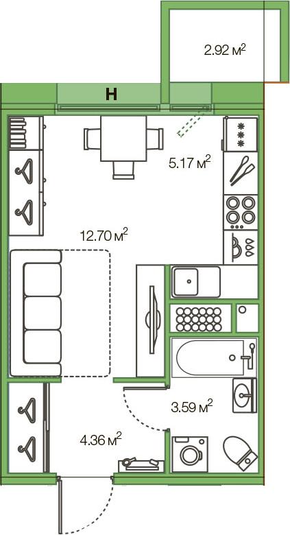 Студия, 28.74 м²