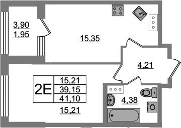 2Е-к.кв, 39.15 м², 5 этаж