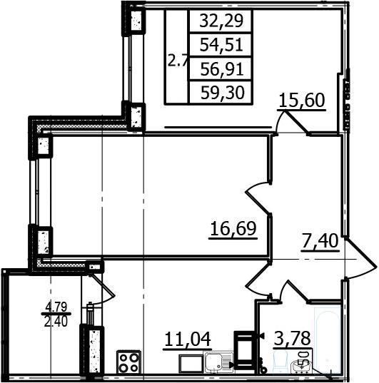 2-к.кв, 54.51 м², 7 этаж
