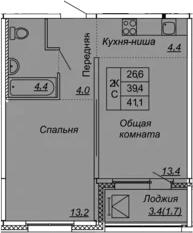 2Е-к.кв, 41.1 м², 3 этаж
