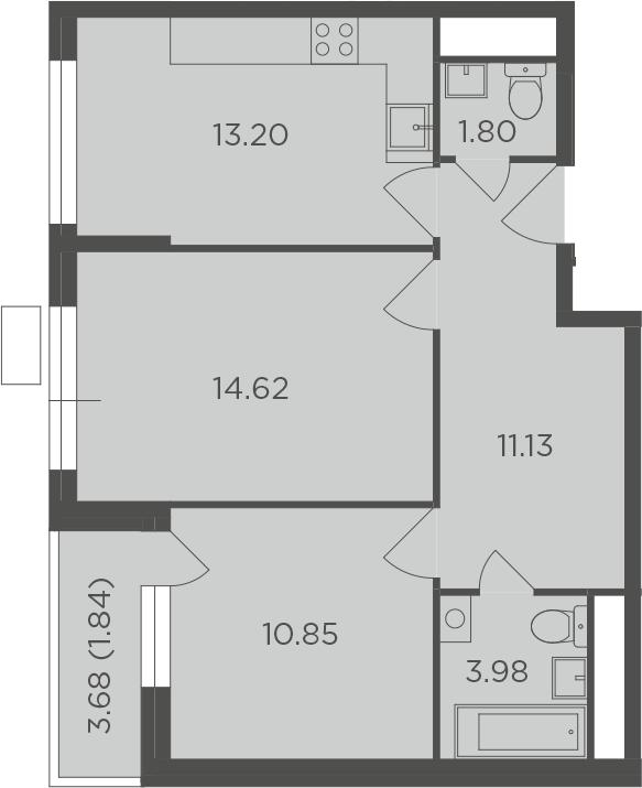 2-к.кв, 57.42 м², 8 этаж