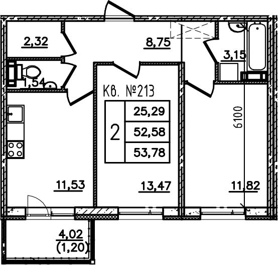 2-комнатная, 53.78 м²– 2