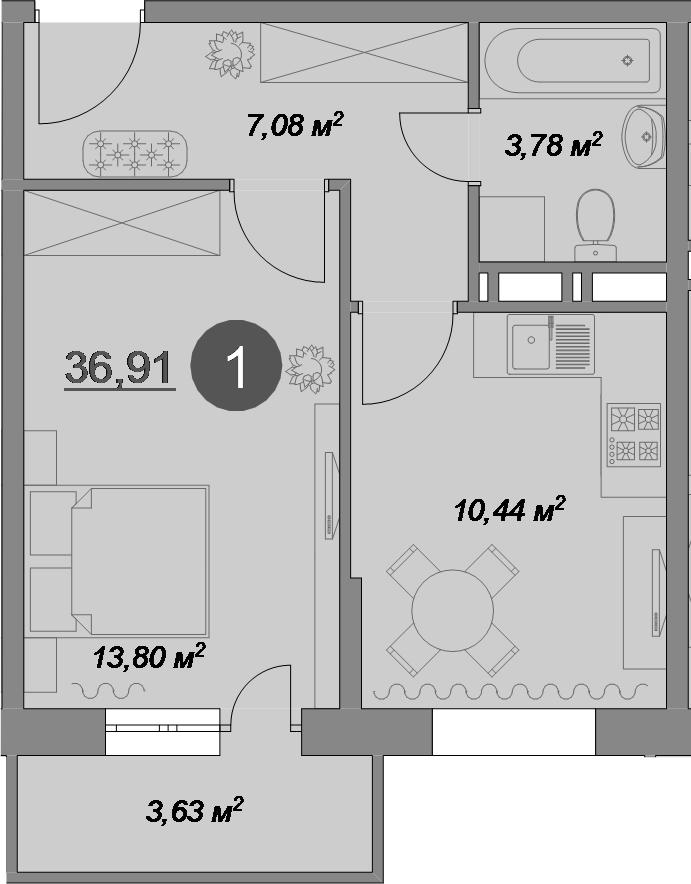 1-комнатная, 36.91 м²– 2