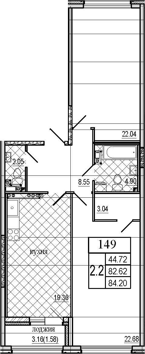 3Е-комнатная, 84.2 м²– 2