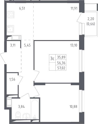 3Е-к.кв, 57.02 м²
