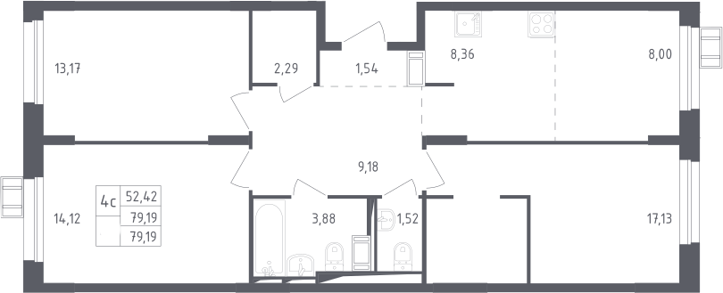 4Е-к.кв, 79.19 м², 11 этаж