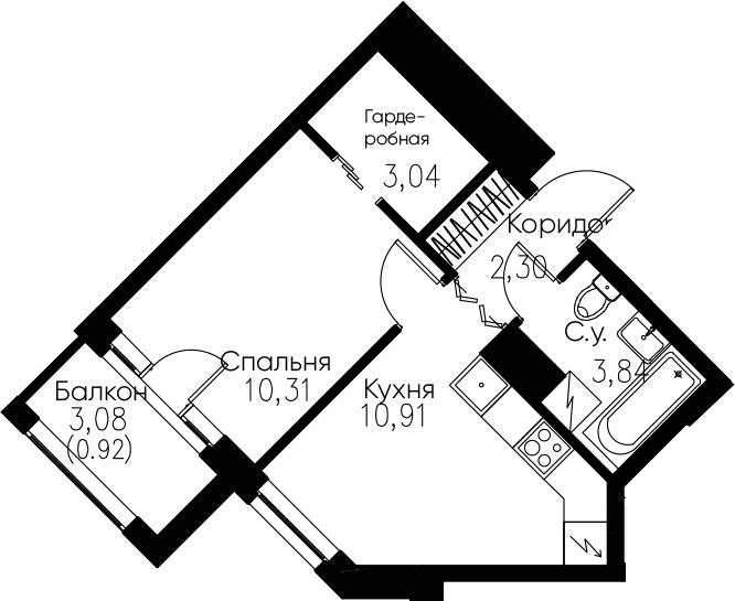 1-комнатная, 31.32 м²– 2