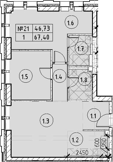 3Е-комнатная, 67.4 м²– 2