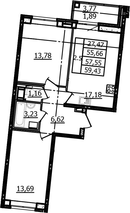 3Е-комнатная, 55.66 м²– 2