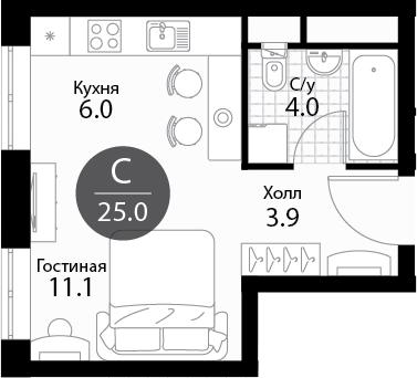 Студия, 25 м²