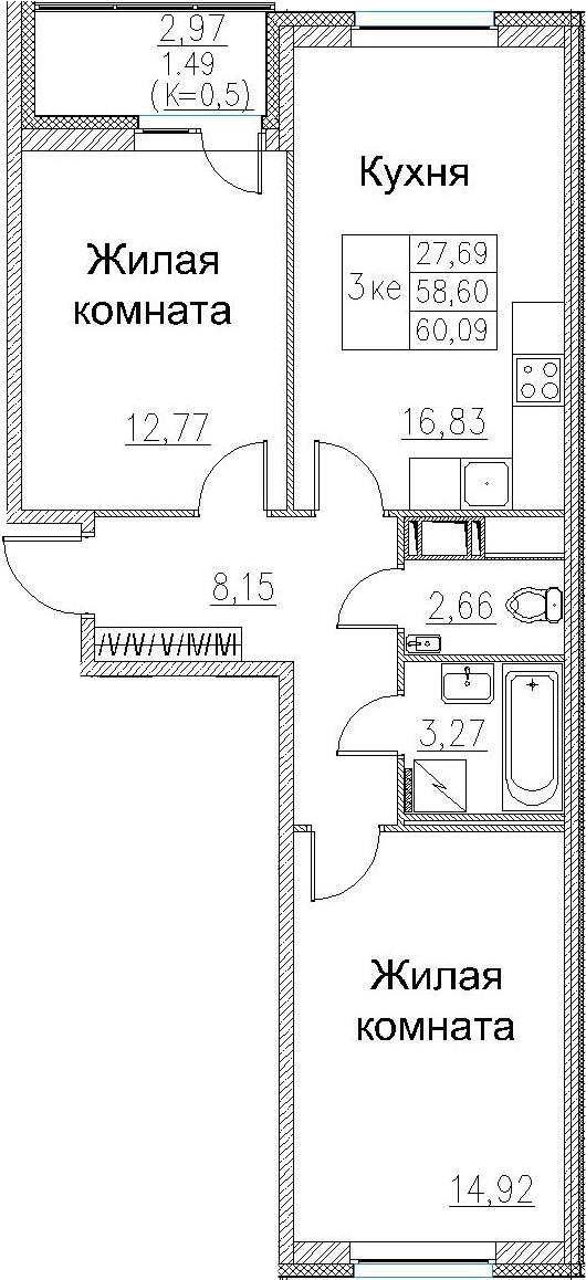 3-к.кв (евро), 61.58 м²
