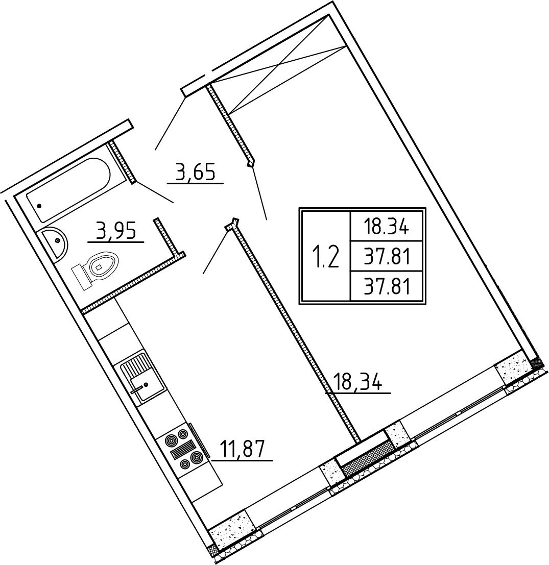 1-к.кв, 37.81 м²
