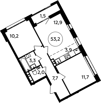 3Е-к.кв, 53.2 м², 6 этаж