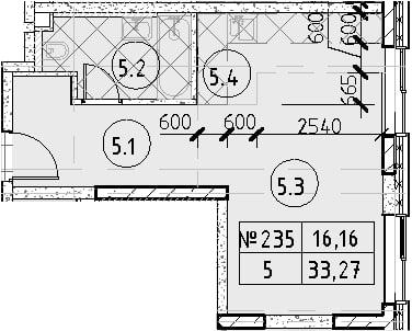 Студия, 33.27 м²– 2
