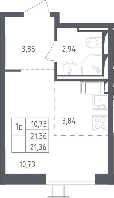 Студия, 21.36 м², 16 этаж