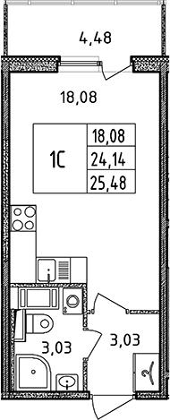 Студия, 24.14 м², 16 этаж