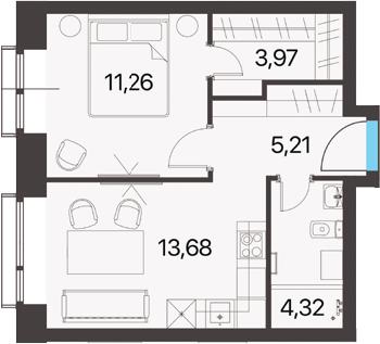1-комнатная, 38.44 м²– 2