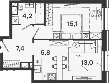 2Е-комнатная, 45.5 м²– 2