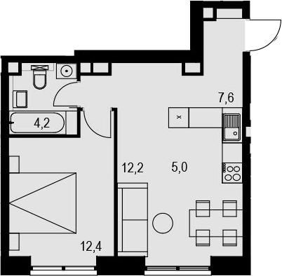 2Е-к.кв, 41.4 м², 8 этаж