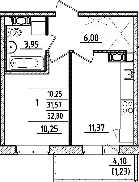 1-к.кв, 35.67 м²