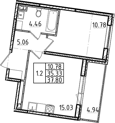 2Е-к.кв, 35.33 м²