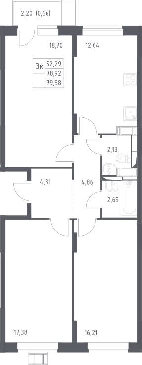 3-к.кв, 79.58 м²