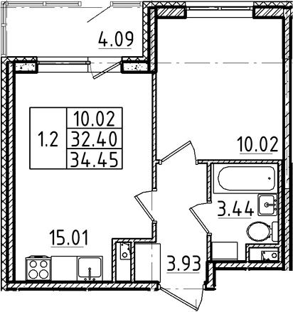 2Е-к.кв, 32.4 м²