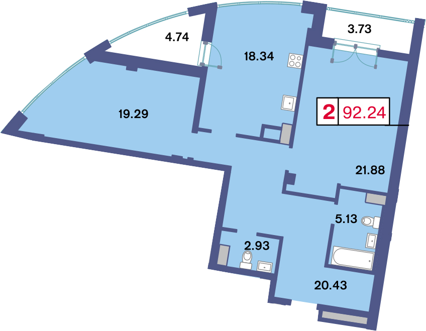 3-к.кв (евро), 96.47 м²