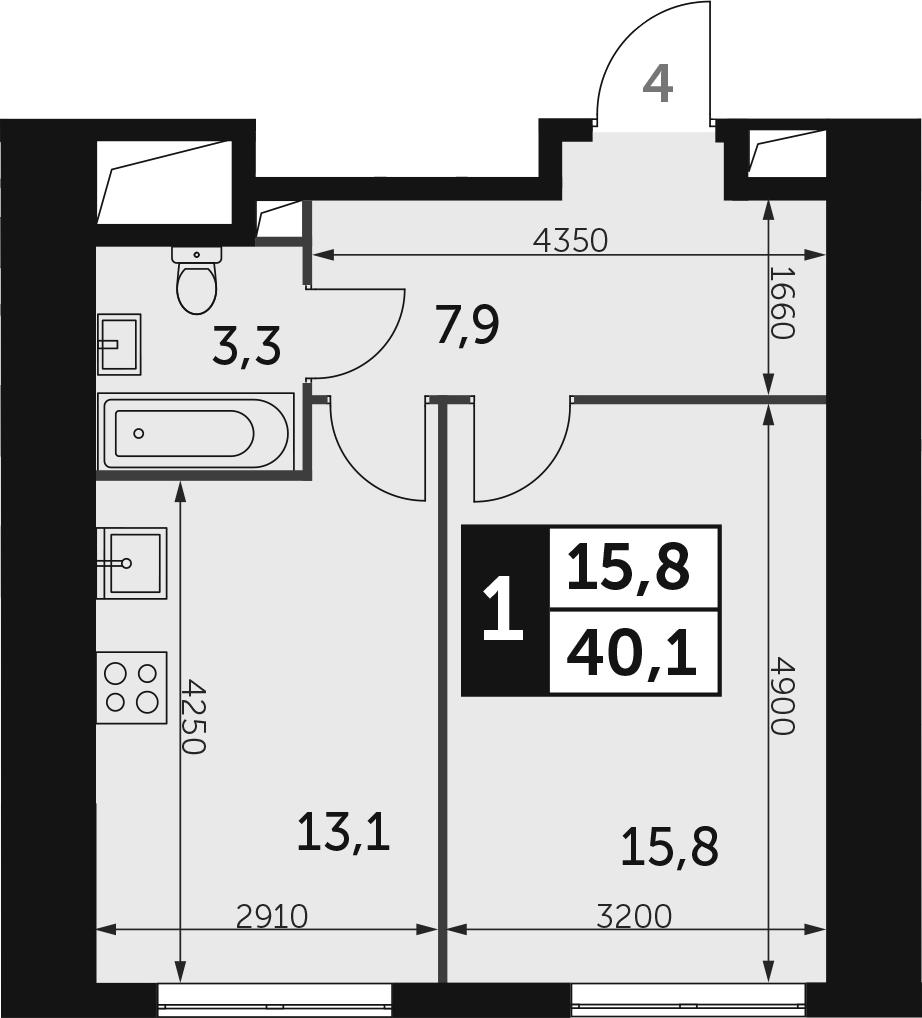 1-к.кв, 40.1 м², 12 этаж